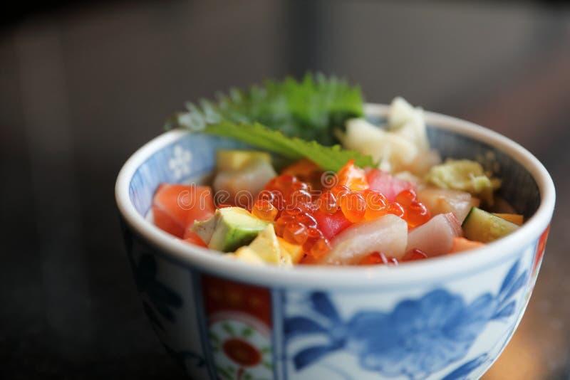 Mix sushi donburi in bowl. Japanese food stock image