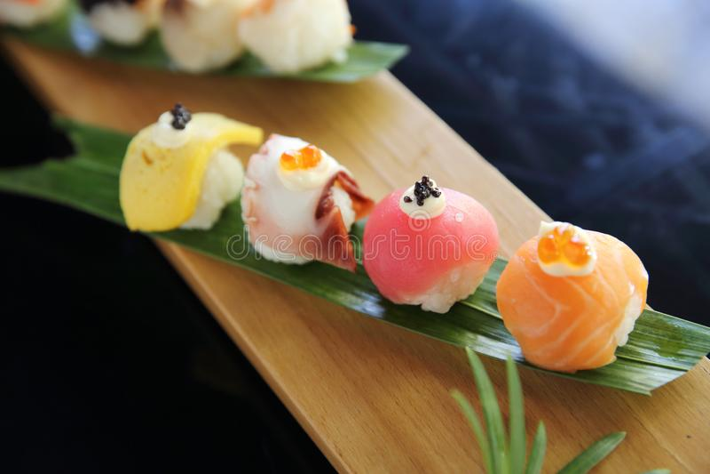 Mix sushi nigiri ball japanese food. In close up royalty free stock photography
