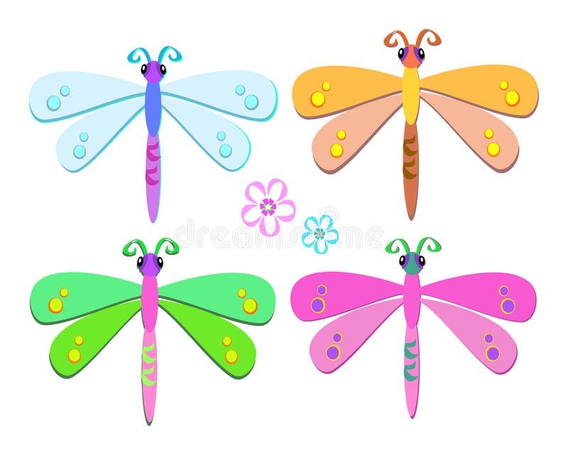 Mix of Sweet Dragonflies stock illustration