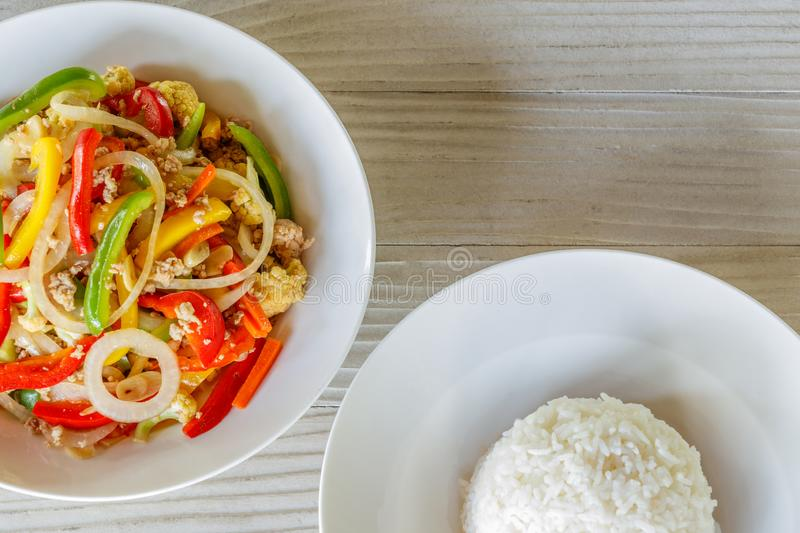 Mix Sweet Pepper with Pork and Streamed Rice, Stir Fried Pork and Sweet Pepper stock photography