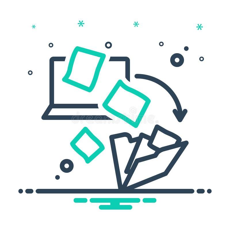 Mix-Symbol für Dematerialisierung, Integration und Dateiübertragung vektor abbildung