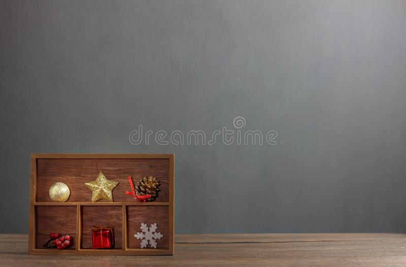 Mix variety object show in the wood shelf. Objects on the modern brown wooden background.Copy space for creative font or wording stock images