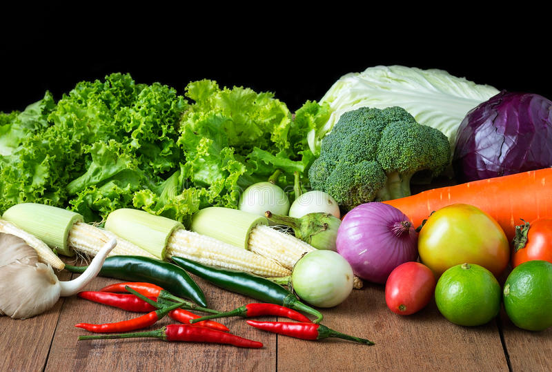 Mix vegetable on wood table royalty free stock photography