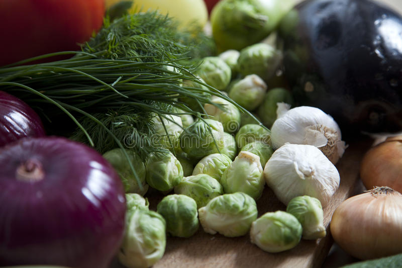Mix vegetables on rustic background stock photo