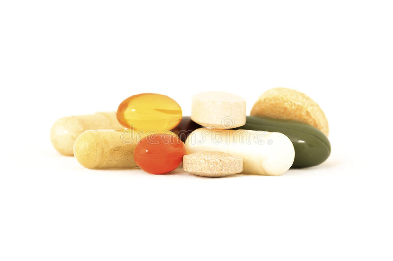 Mix of vitamin supplements stock photography