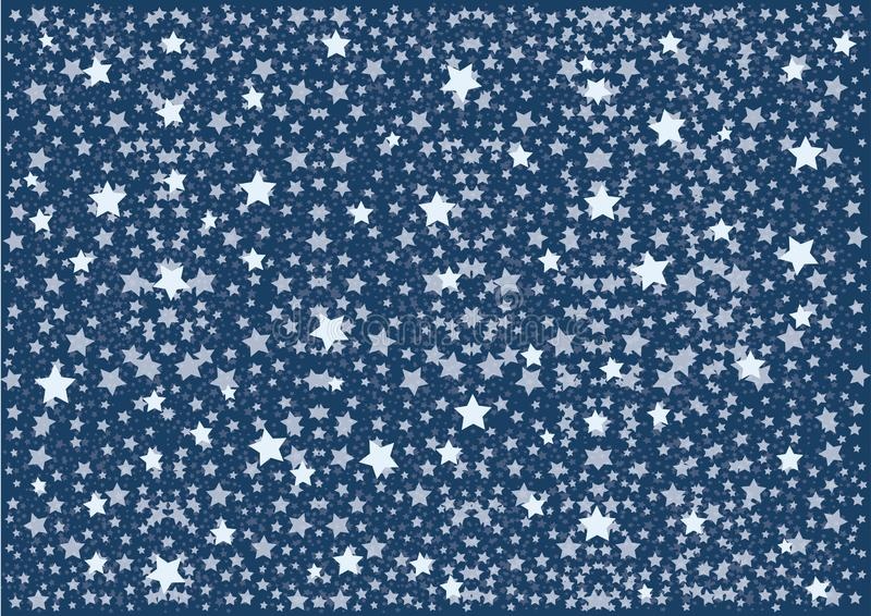 Blue Night Sky with pattern White Stars and Dots. Vector illustration vector illustration