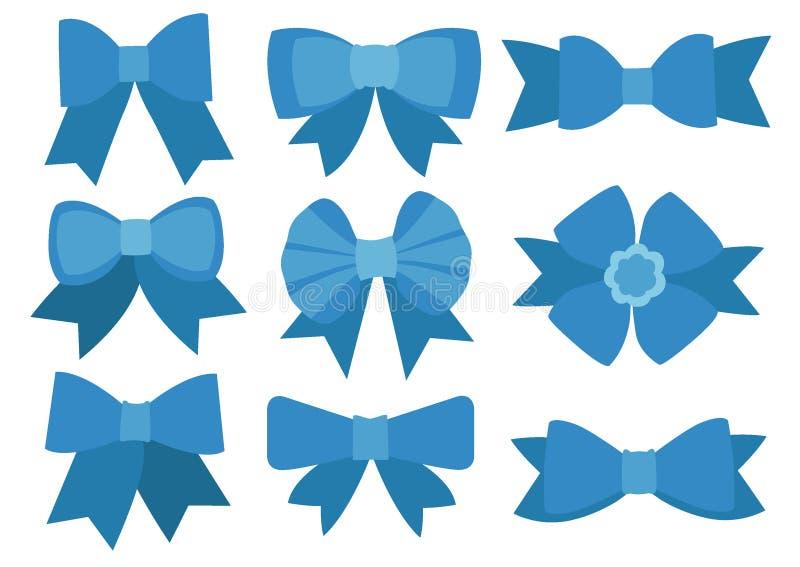 Blue bow design on white background stock illustration