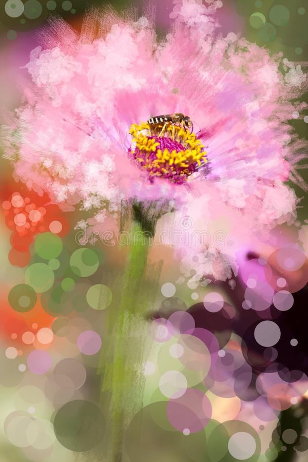 Mixed abstract and real flower explosion of colors stock illustration