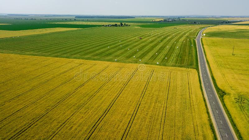 Mixed agricultural fields top view aerial photography.  royalty free stock image