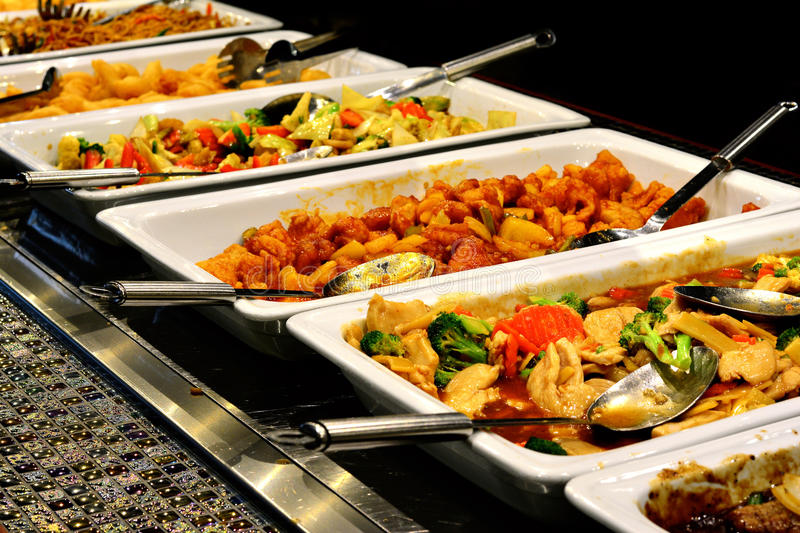 Mixed Asian food. Buffet and sushi royalty free stock photography