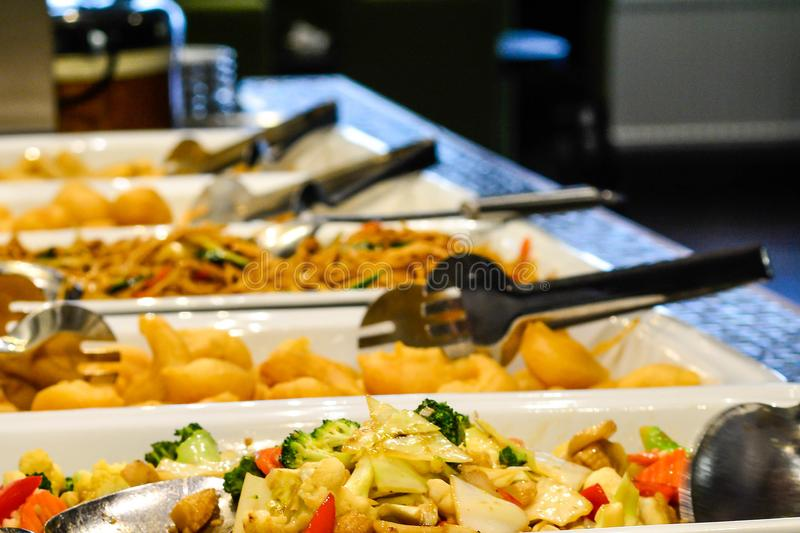 Mixed Asian food at the restaurant buffé royalty free stock photography