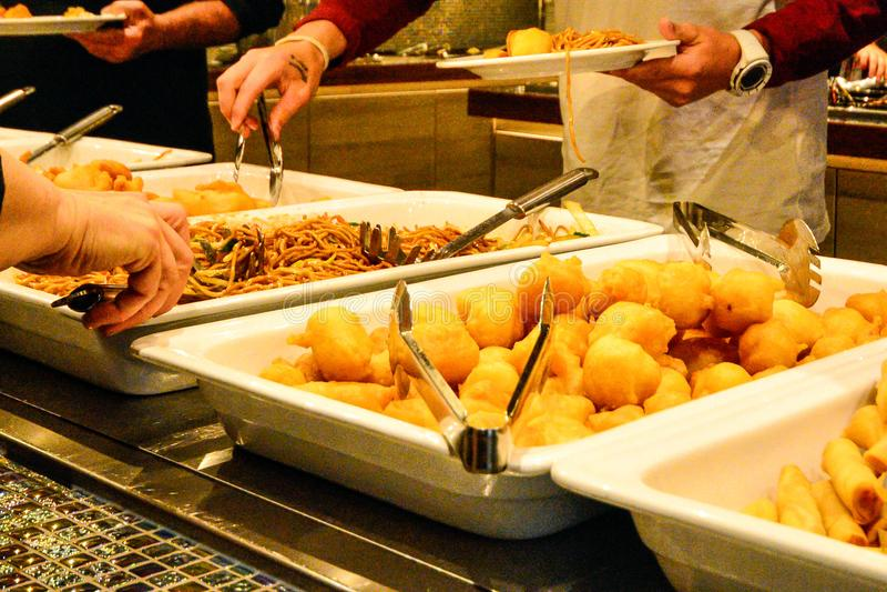 Mixed Asian food at the restaurant buffé stock image