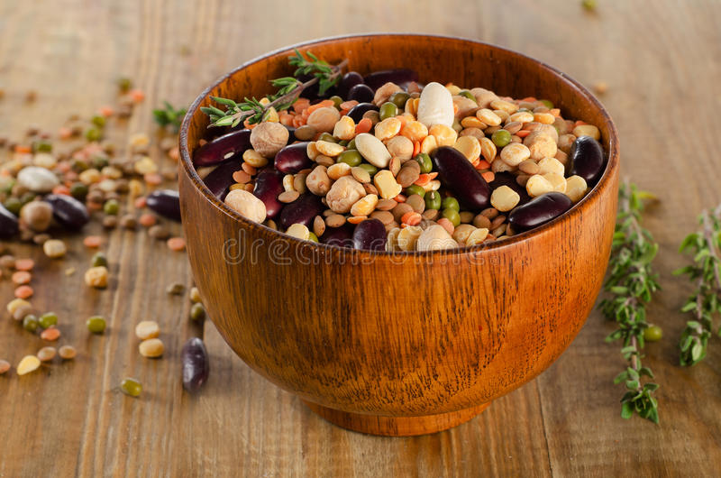 Mixed beans and lentils stock images