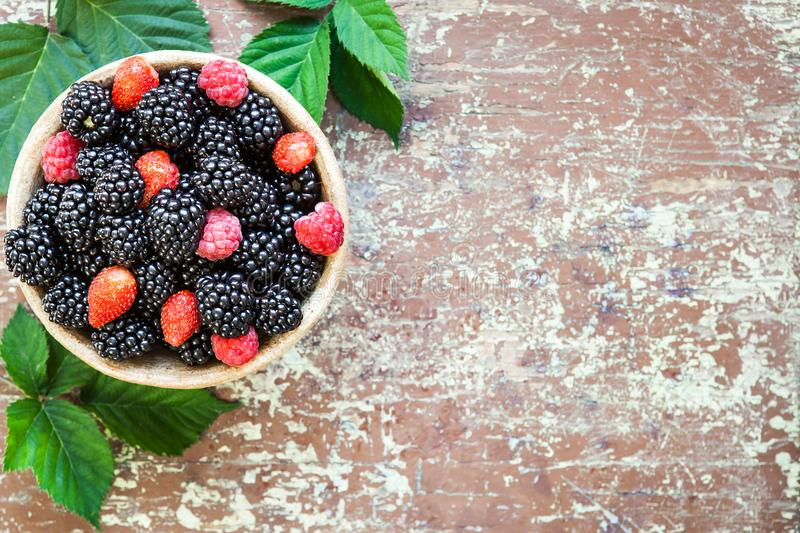 Mixed berries in a clay pot stock image