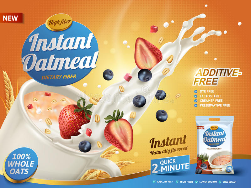 Mixed berry oatmeal ad royalty free illustration