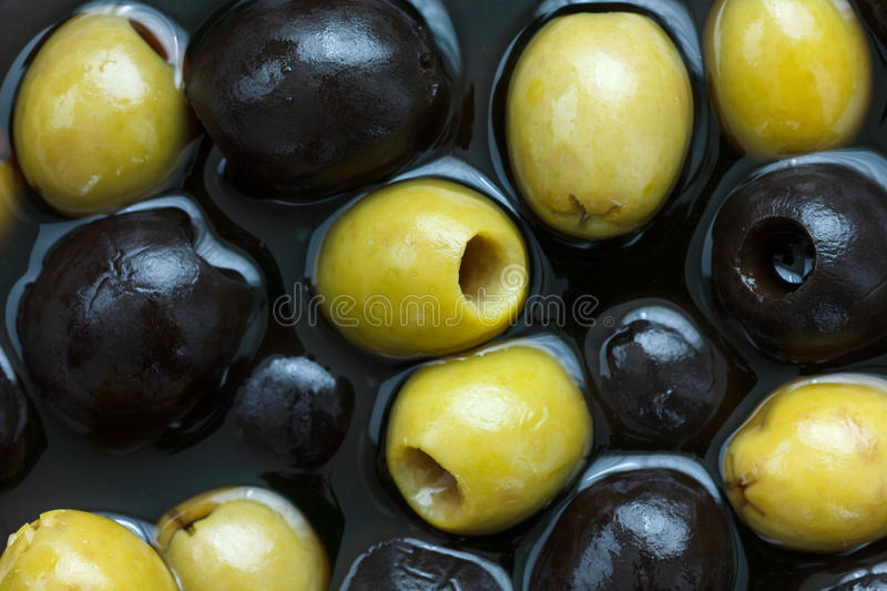 Mixed black, green olives. stock photography