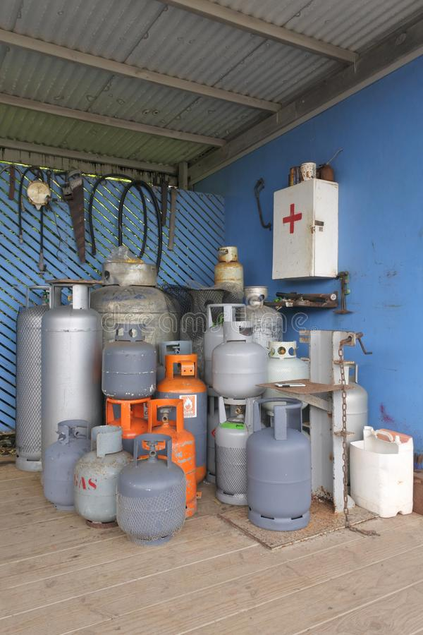 Mixed Bottled gas cylinders collection. Gas cylinder or tank is a pressure vessel used to store gases at above atmospheric pressure stock photography