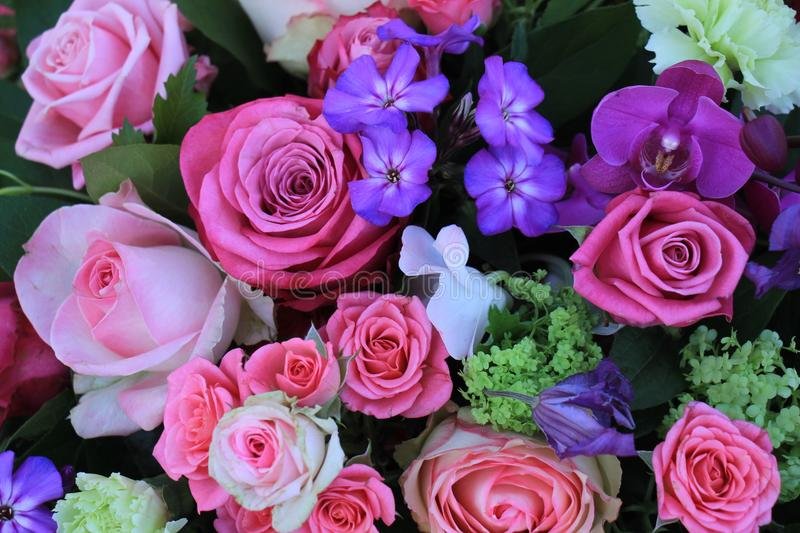 Mixed purple pink bouquet royalty free stock photo