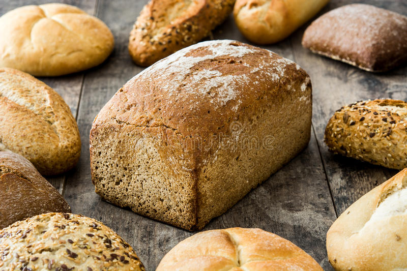Mixed breads wood stock image