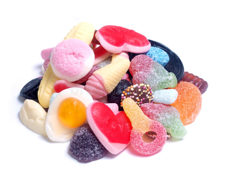 Mixed Candy. Assorted colorful candy shapes on white background
