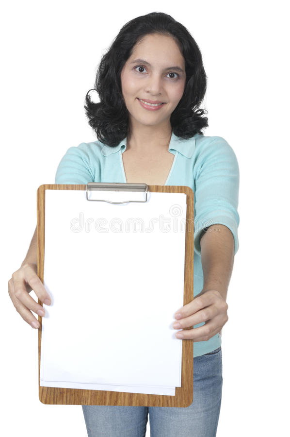 Download Mixed Caucasian Asian Woman Hold Blank Paper Stock Image - Image: 25084807
