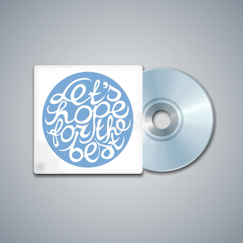 Mixed CD Cover. Mockup Template with Lettering. Element. Lets hope for the best stock illustration