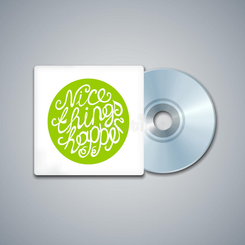 Mixed CD Cover. Mockup Template with Lettering. Element. Nice things happen stock illustration