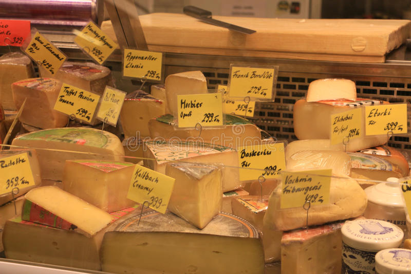 Mixed cheese in Stockholm market stock photo