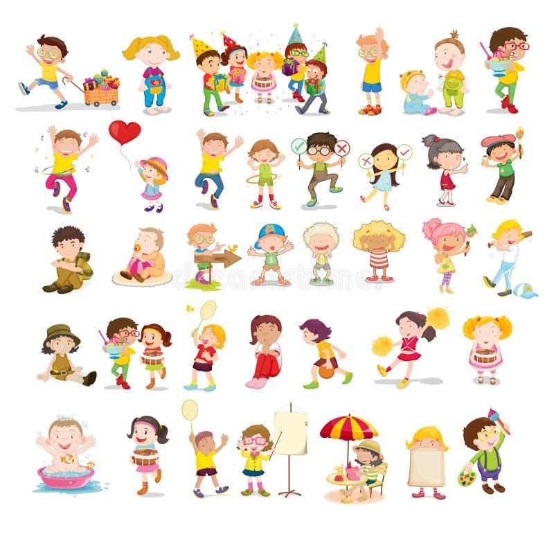 Mixed children vector illustration