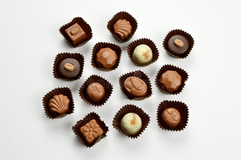 Mixed chocolate candies stock image
