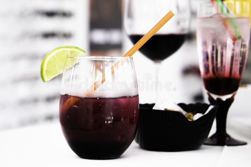 Mixed cocktail in unique glass royalty free stock photography