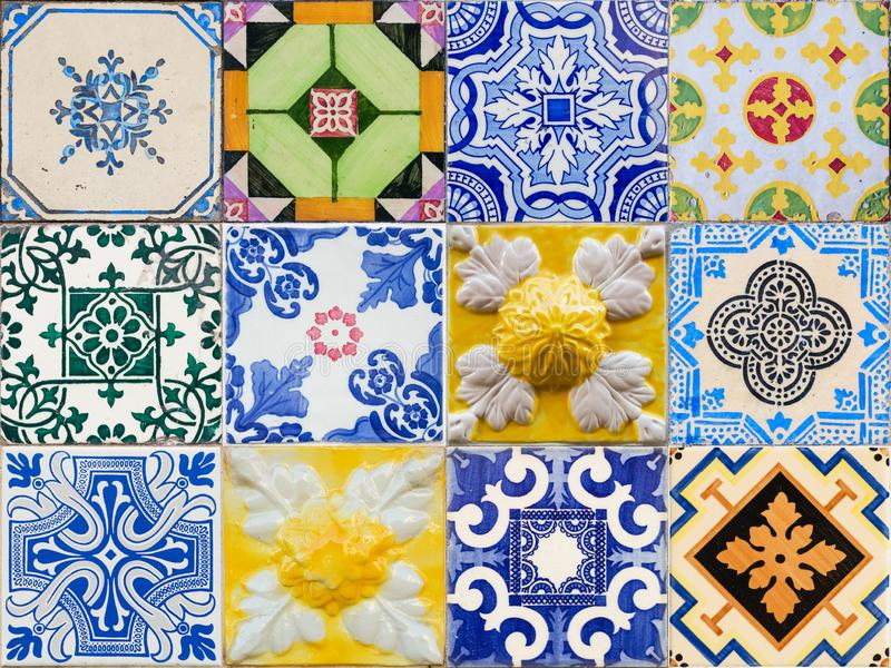 Mixed colage of the traditional portuguese azulejo tiles on the buildings in Porto, Portugal. Colorful background texture royalty free stock photos
