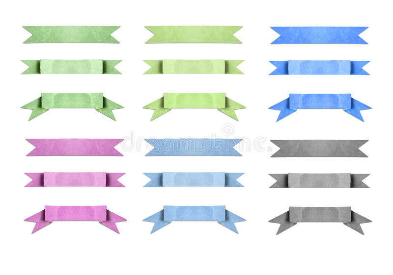 Mixed color used paper banner ribbon on white. File of mixed color used paper banner ribbon on white royalty free stock photography