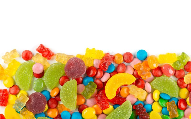 Mixed colorful candies. Color sweets on white background royalty free stock images