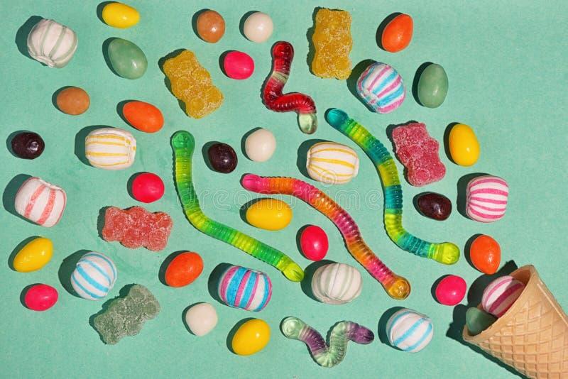 Mixed colorful sugar candy stock photos