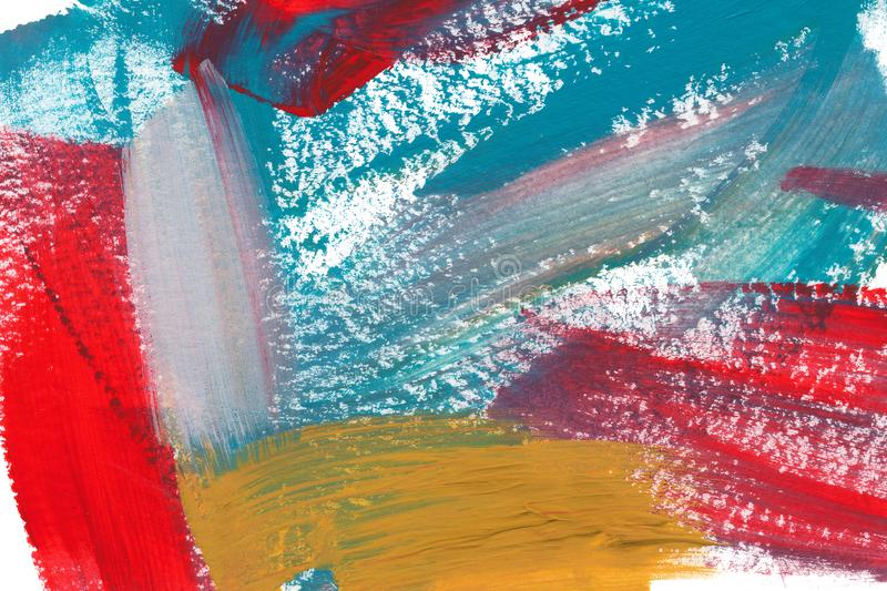 Mixed colors acrylic texture background. Hand drawn red, yellow and blue smears, brush strokes abstract backdrop. royalty free stock photography