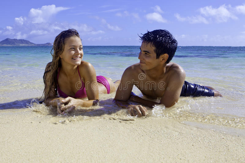 Mixed couple in hawaii stock photos