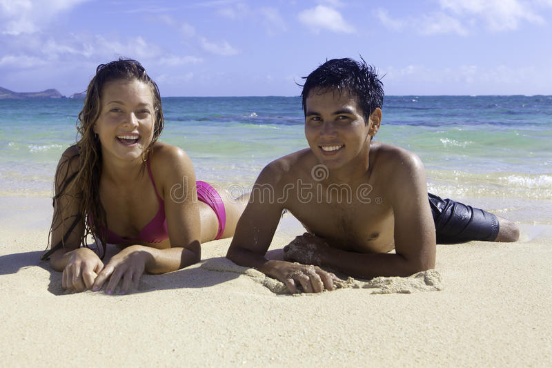 Mixed couple in hawaii royalty free stock image