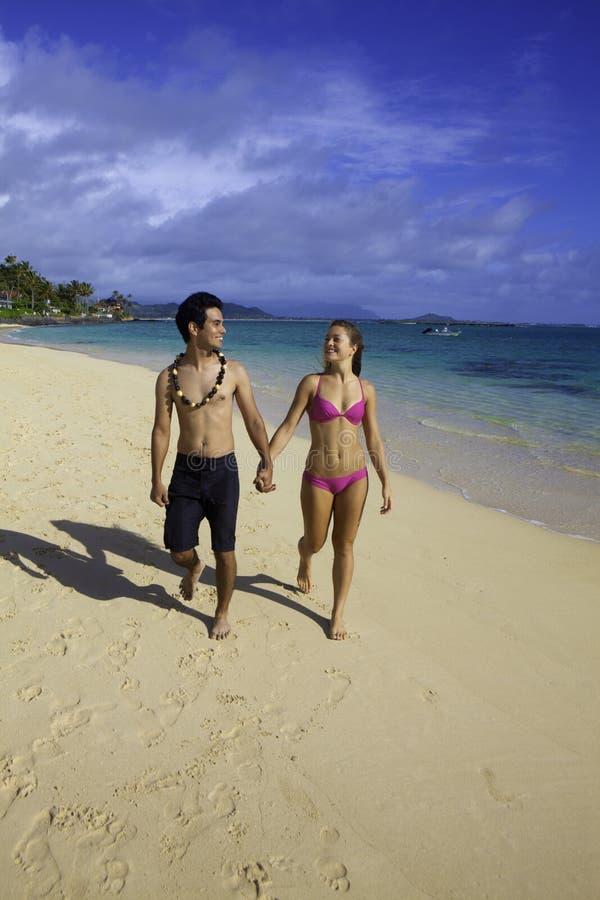 Mixed couple in hawaii royalty free stock photos