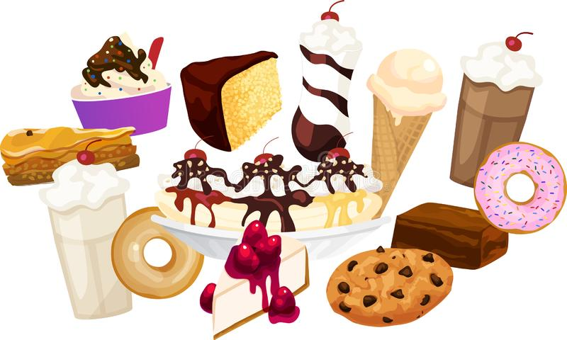 Mixed Various Desserts Sweets Group. Various desserts arranged in a group including frozen yogurt, yellow cake, ice cream, milkshakes, donuts, cheesecake vector illustration