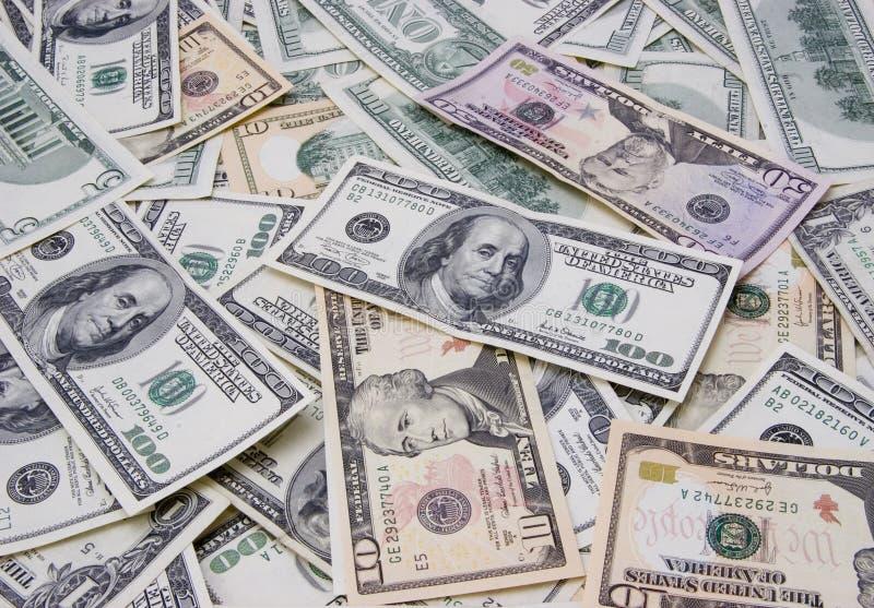 Mixed Dollars Background Stock Photo