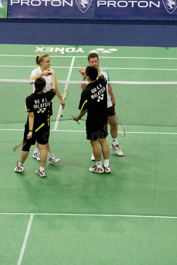 Download Mixed Doubles Badminton - End Of Game Editorial Photography - Image: 7679857