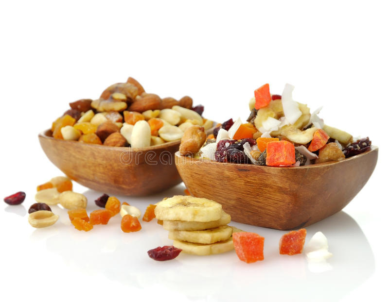 Mixed dried fruit, nuts and seeds royalty free stock photo