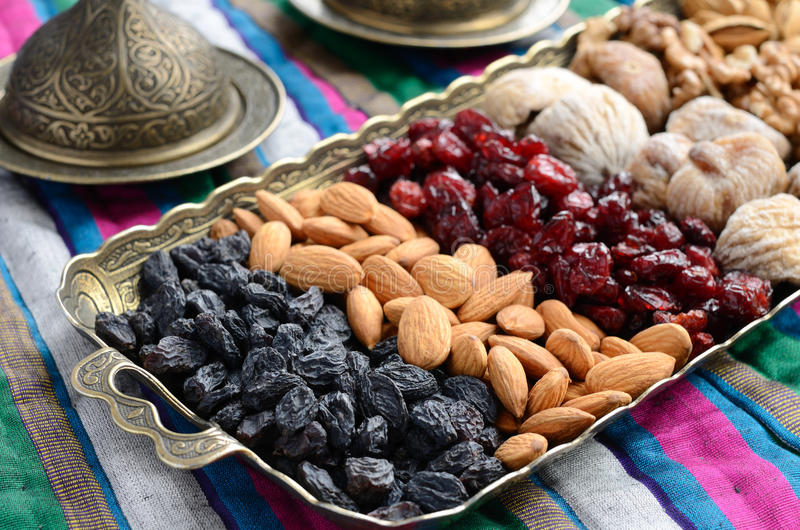 Download Mixed Dried Fruits And Nuts In Oriental Style Stock Image - Image: 33277695