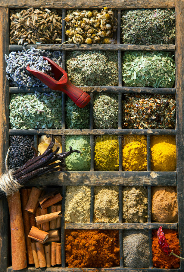 Mixed dried herbs and spices. Overhead view of a selection of mixed dried herbs, condiments and spices in an old wooden printers tray royalty free stock image