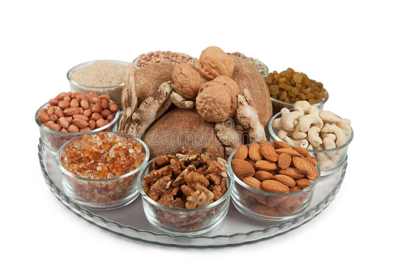Mixed dry fruits in glass bowl royalty free stock images