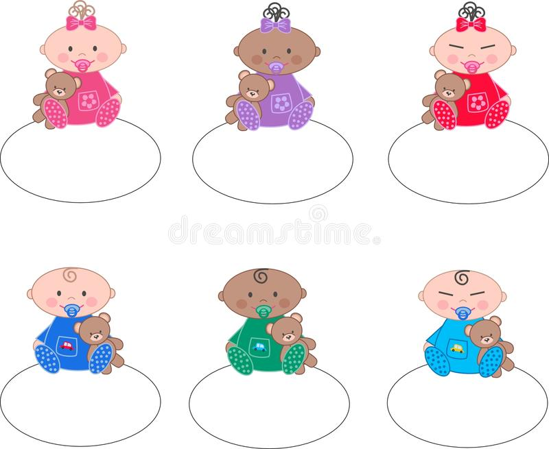Download Mixed ethnic babies stock vector. Image of blue, culture - 25242289