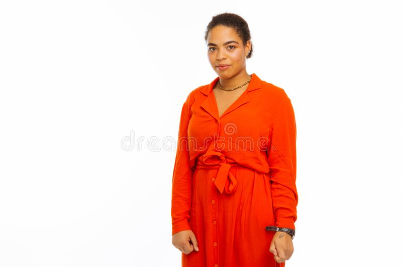 Nice young afro american woman looking at you stock photos