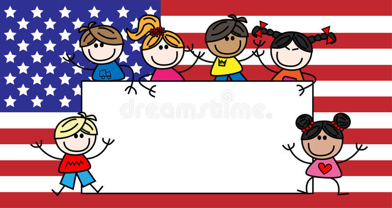 Mixed ethnic children american flag stock photography