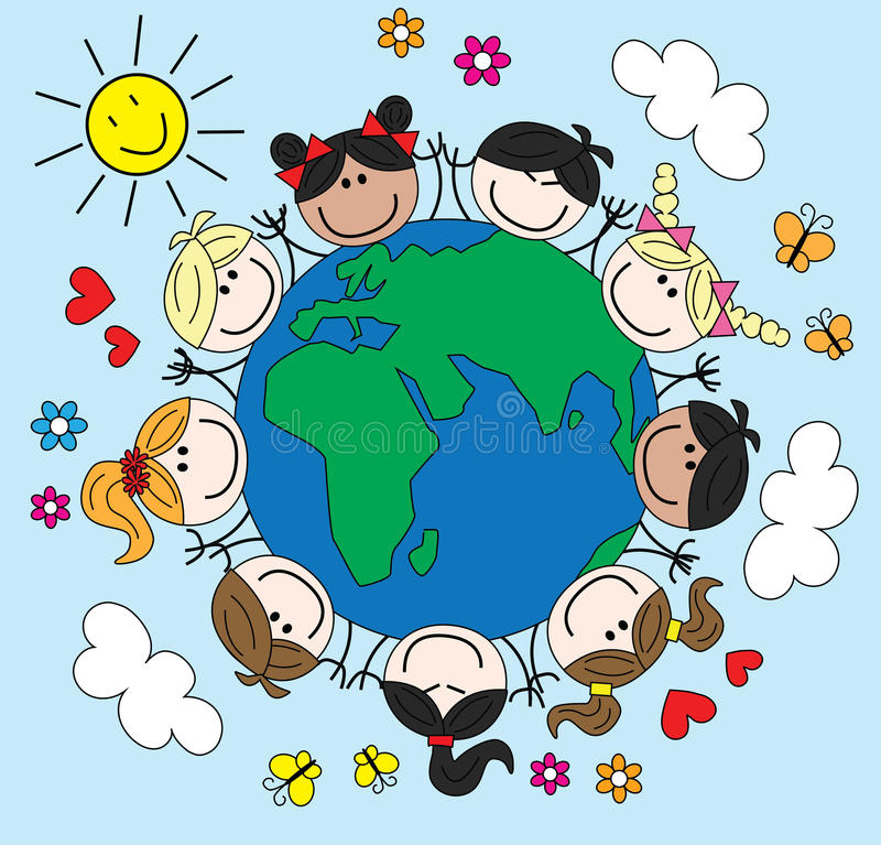 Mixed ethnic children around the world. Cover or header vector illustration